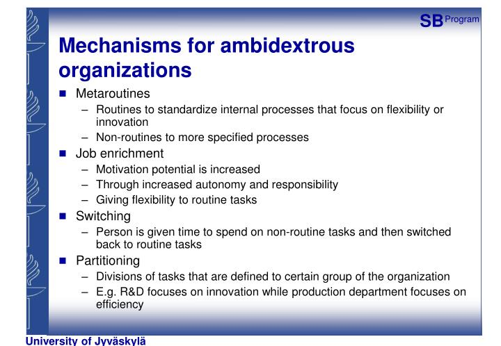 Mechanisms for ambidextrous organizations