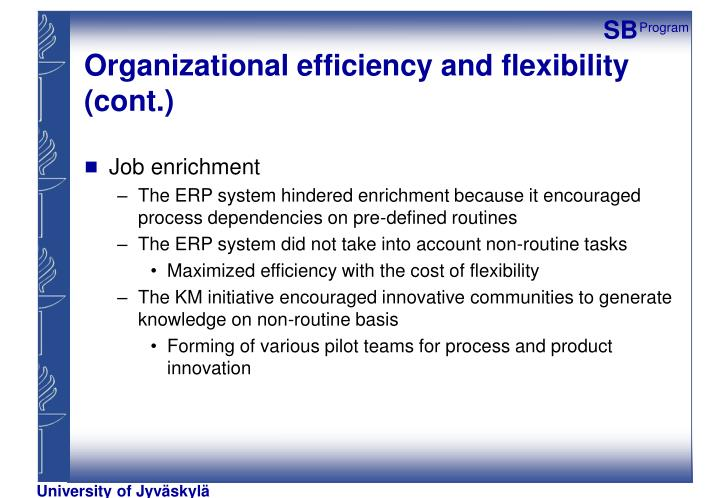 Organizational efficiency and flexibility (cont.)