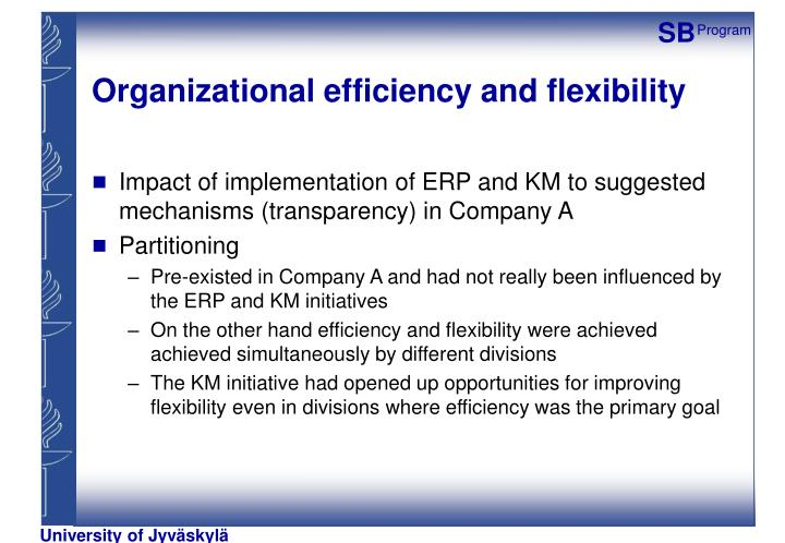 Organizational efficiency and flexibility
