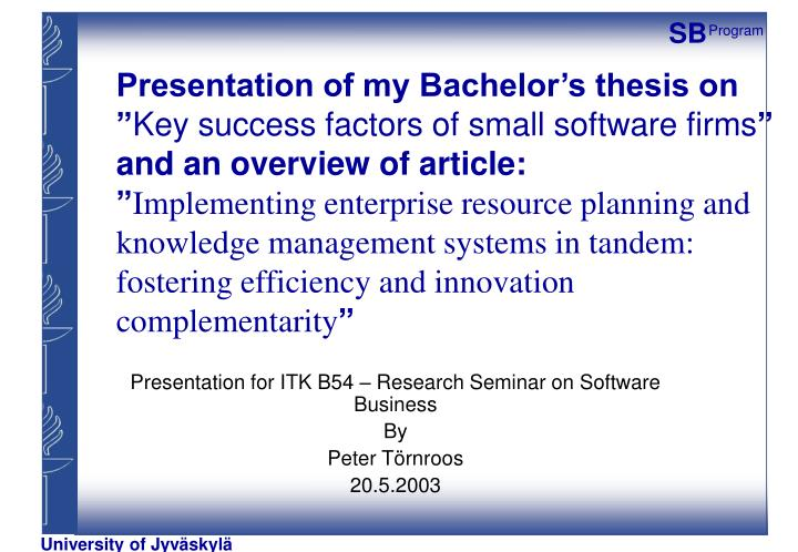 Presentation of my Bachelor's thesis on ""