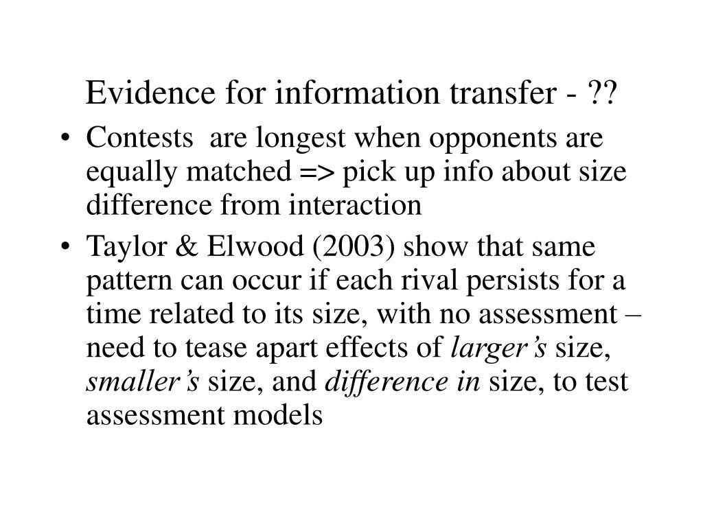 Evidence for information transfer - ??