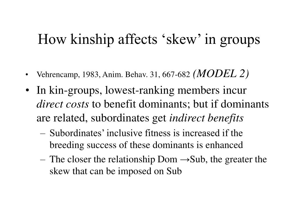 How kinship affects 'skew' in groups