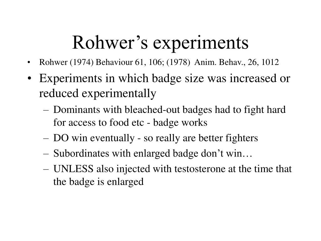 Rohwer's experiments