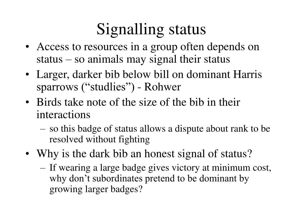 Signalling status