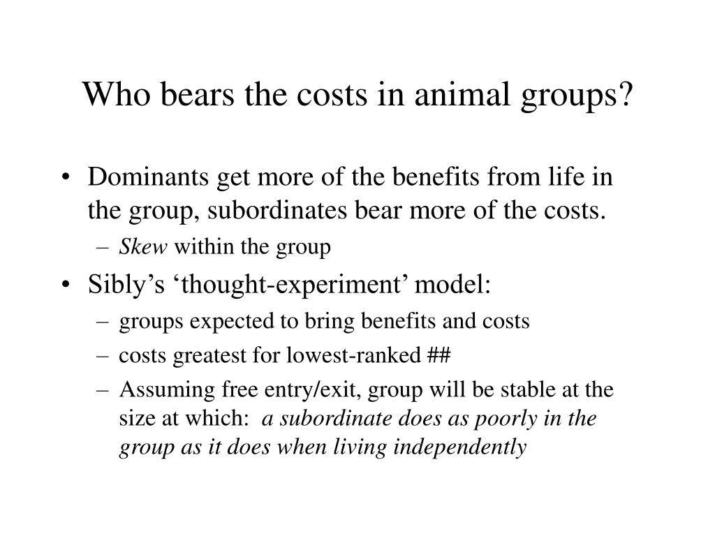 Who bears the costs in animal groups?