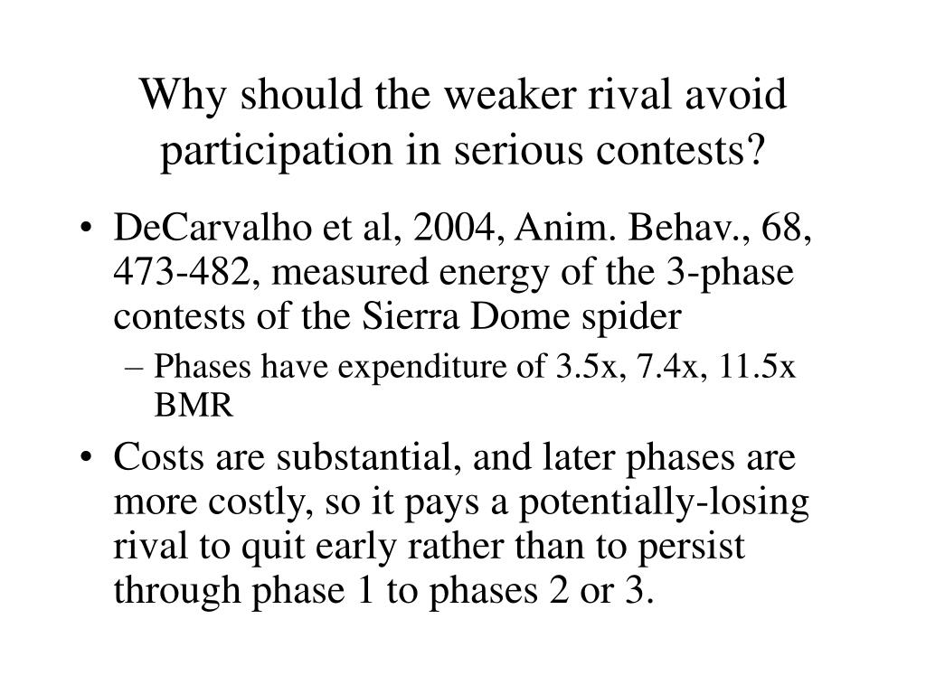 Why should the weaker rival avoid participation in serious contests?