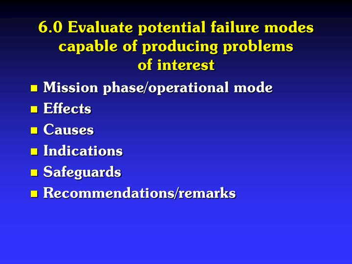 6.0 Evaluate potential failure modes capable of producing problems