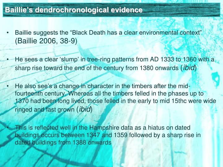 Baillie's dendrochronological evidence