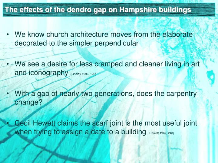The effects of the dendro gap on Hampshire buildings