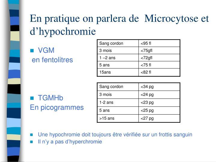 En pratique on parlera de  Microcytose et d'hypochromie