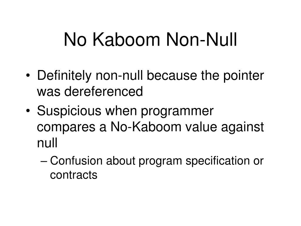 No Kaboom Non-Null