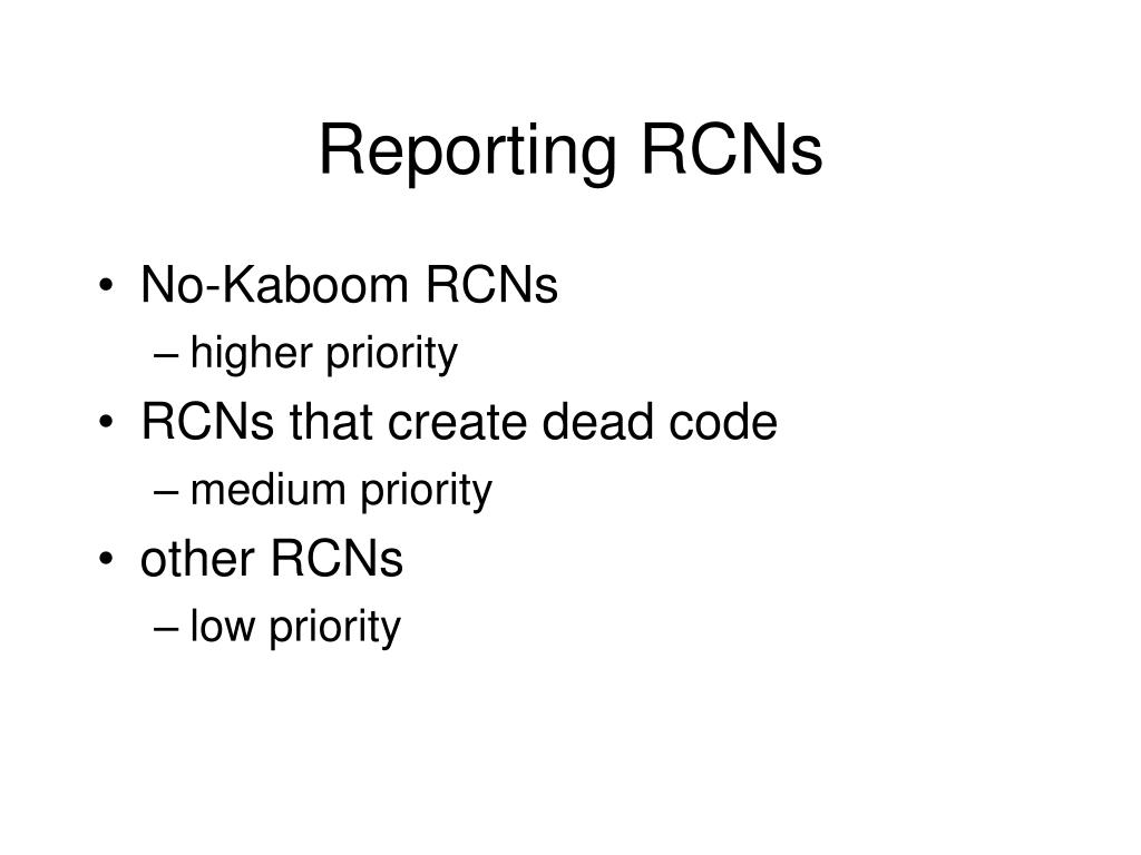 Reporting RCNs
