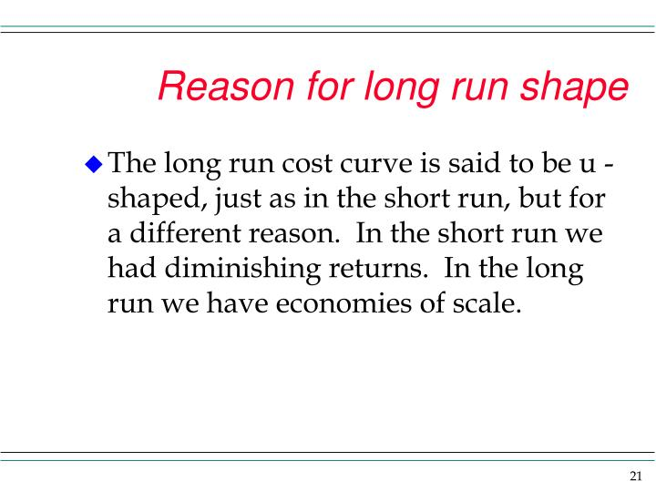 Reason for long run shape
