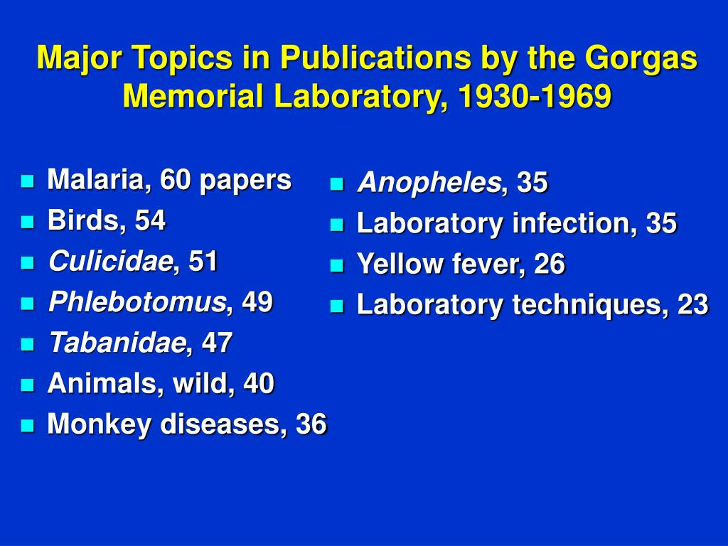 Malaria, 60 papers