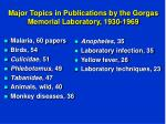 major topics in publications by the gorgas memorial laboratory 1930 1969