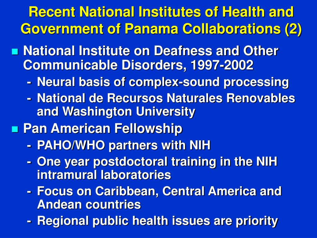 Recent National Institutes of Health and Government of Panama Collaborations (2)