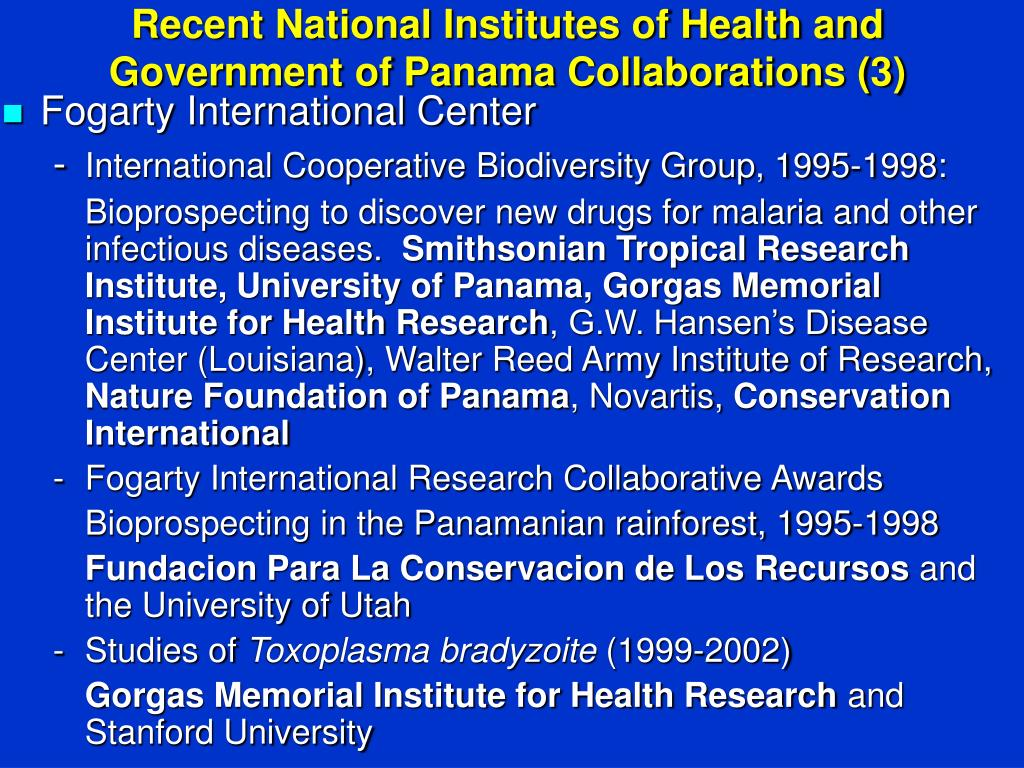 Recent National Institutes of Health and Government of Panama Collaborations (3)