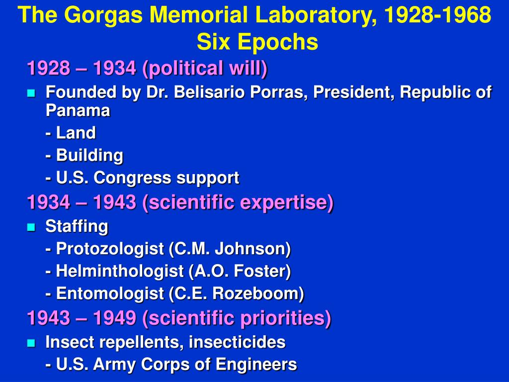 The Gorgas Memorial Laboratory, 1928-1968