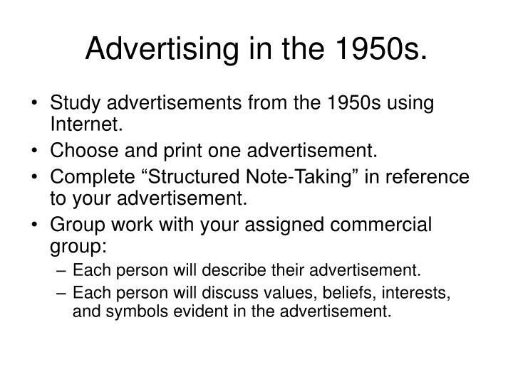 Advertising in the 1950s.