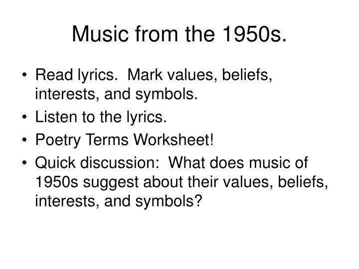 Music from the 1950s.