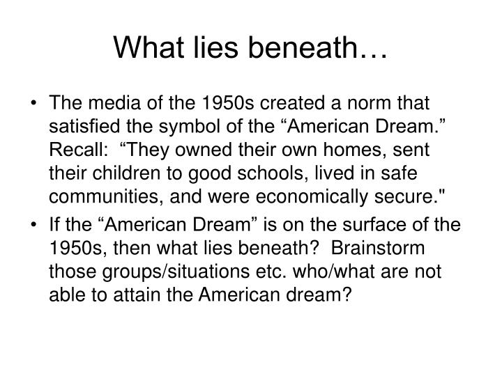 What lies beneath…