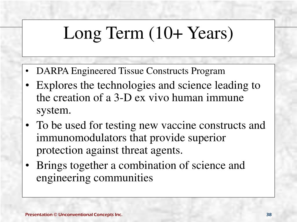 DARPA Engineered Tissue Constructs Program