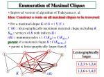 enumeration of maximal cliques