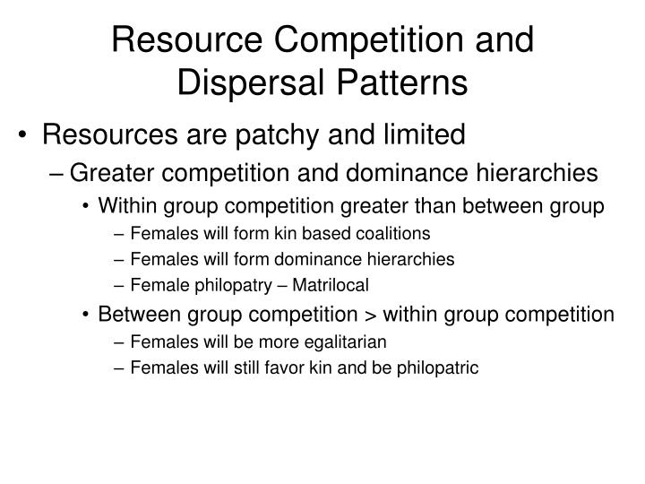 Resource Competition and Dispersal Patterns