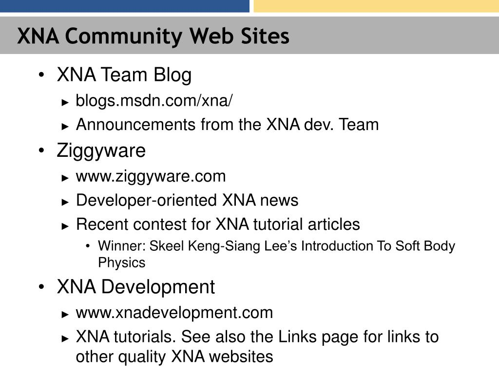 XNA Community Web Sites