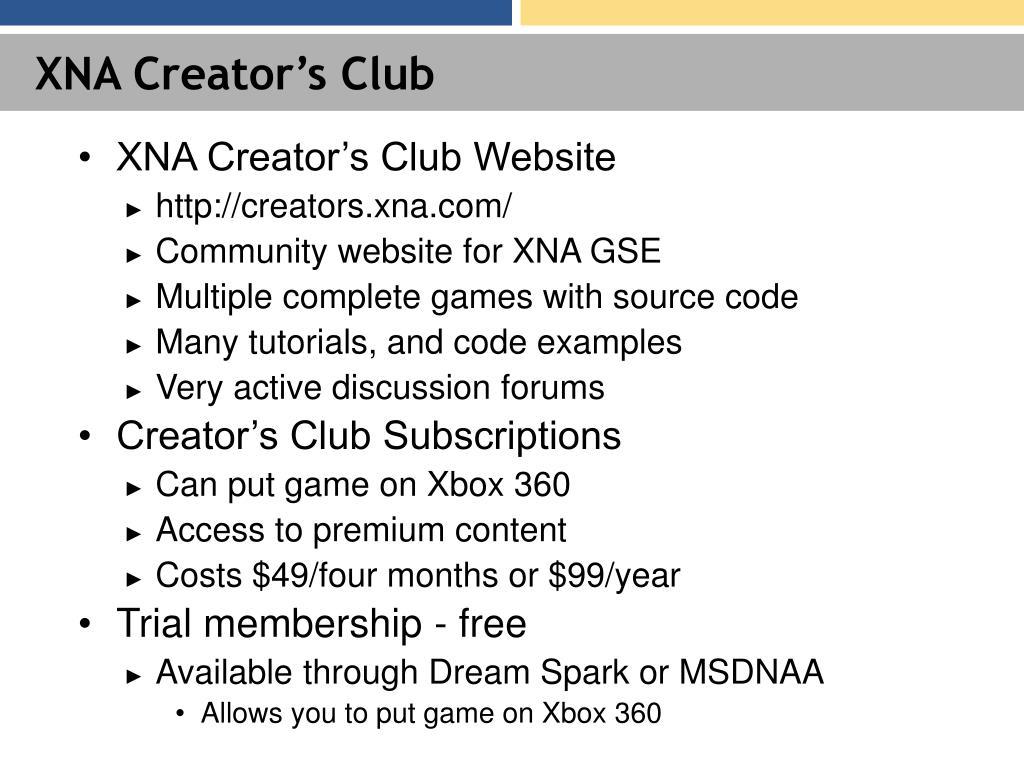 XNA Creator's Club