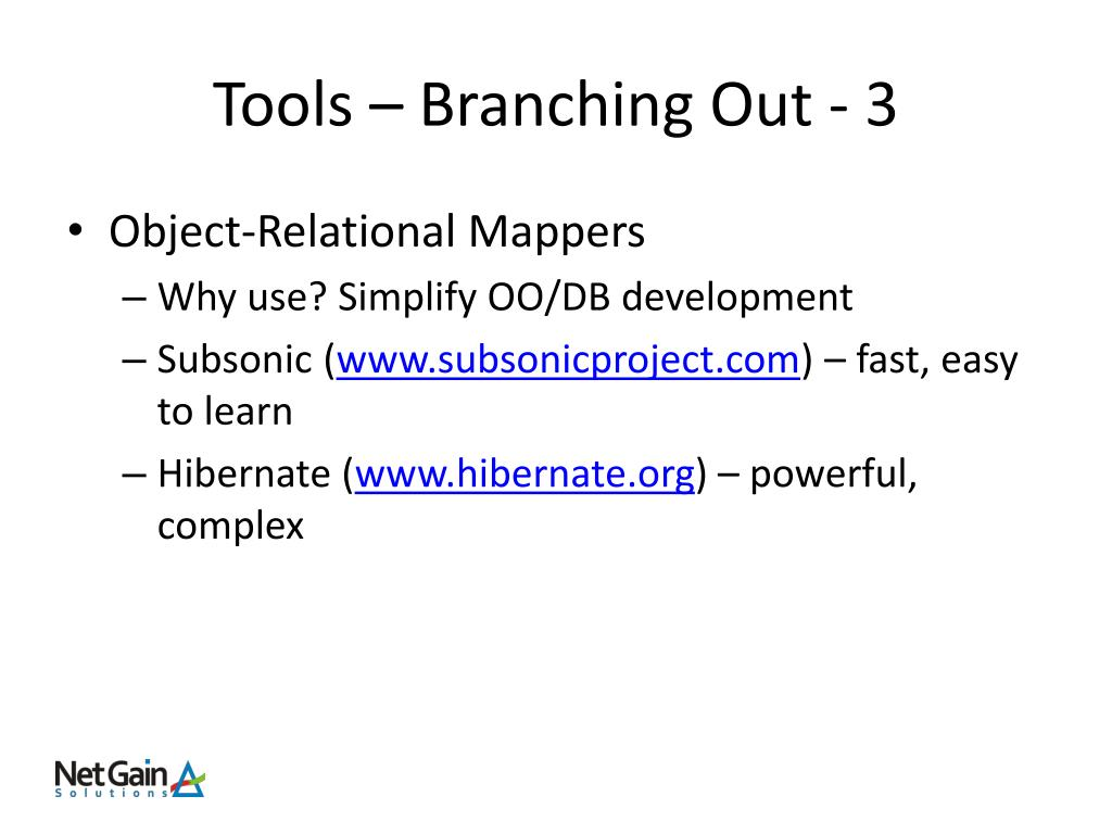 Tools – Branching Out - 3