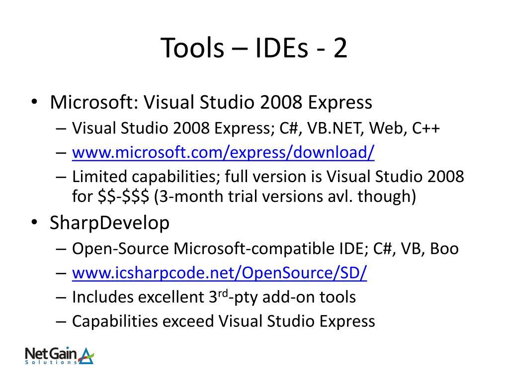 Tools – IDEs - 2