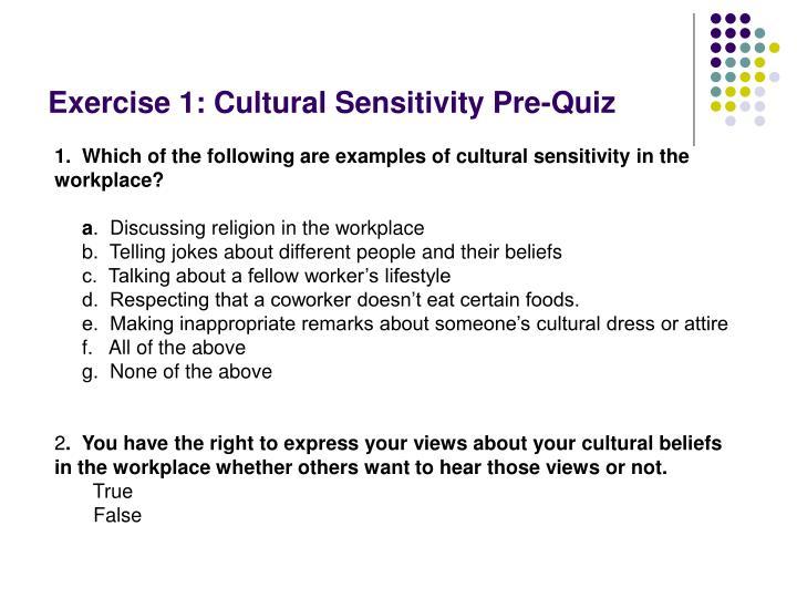 Exercise 1: Cultural Sensitivity Pre-Quiz
