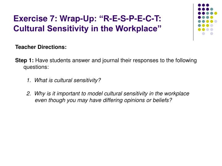 "Exercise 7: Wrap-Up: ""R-E-S-P-E-C-T: Cultural Sensitivity in the Workplace"""