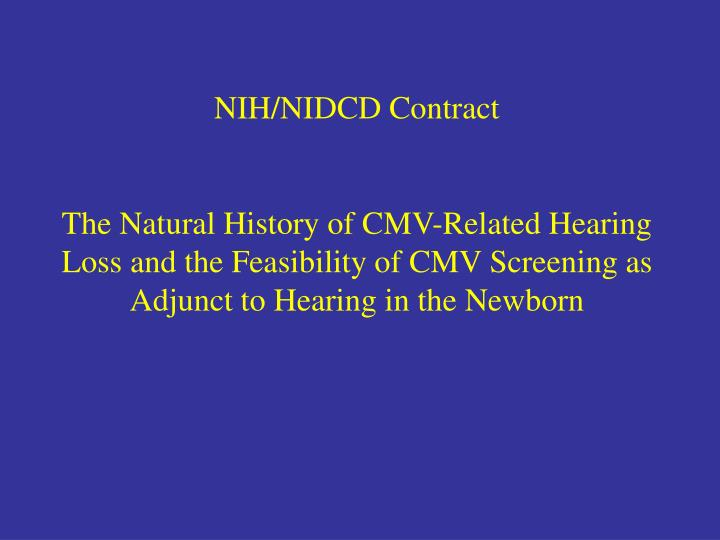 NIH/NIDCD Contract