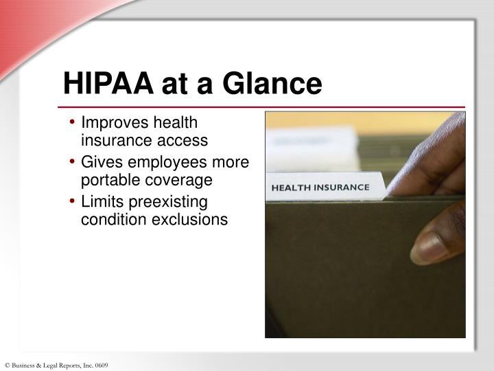 HIPAA at a Glance
