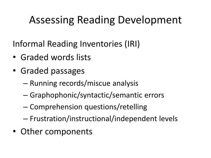 Assessing Reading Development