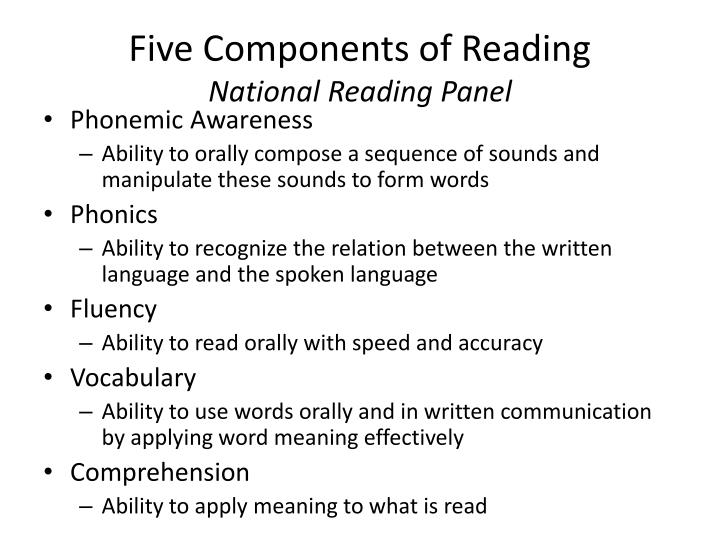 Five components of reading national reading panel