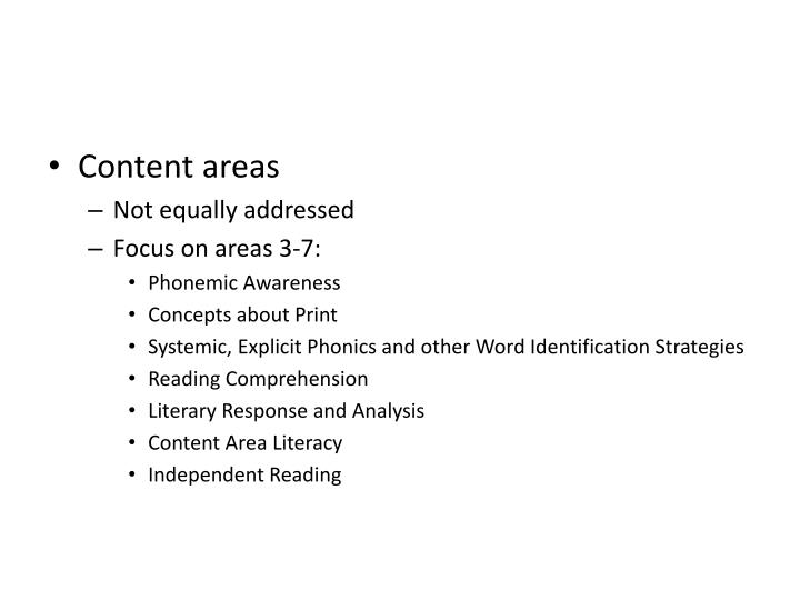 Content areas