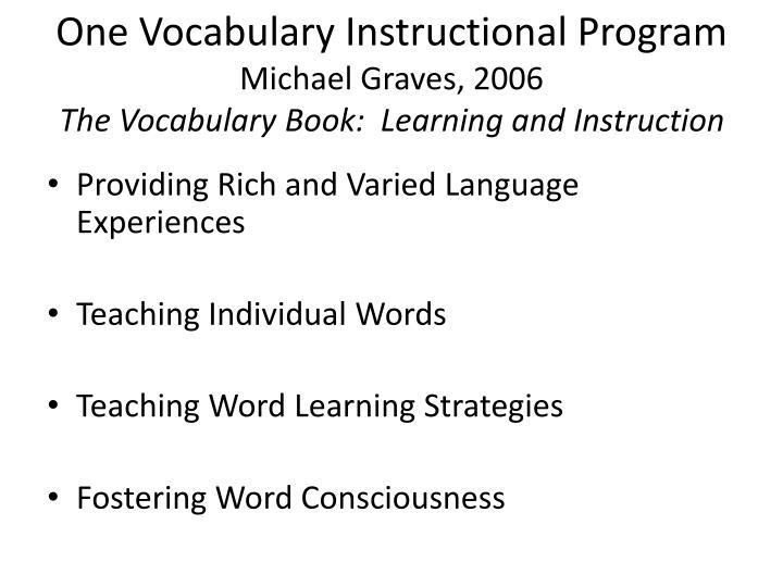 One Vocabulary Instructional Program