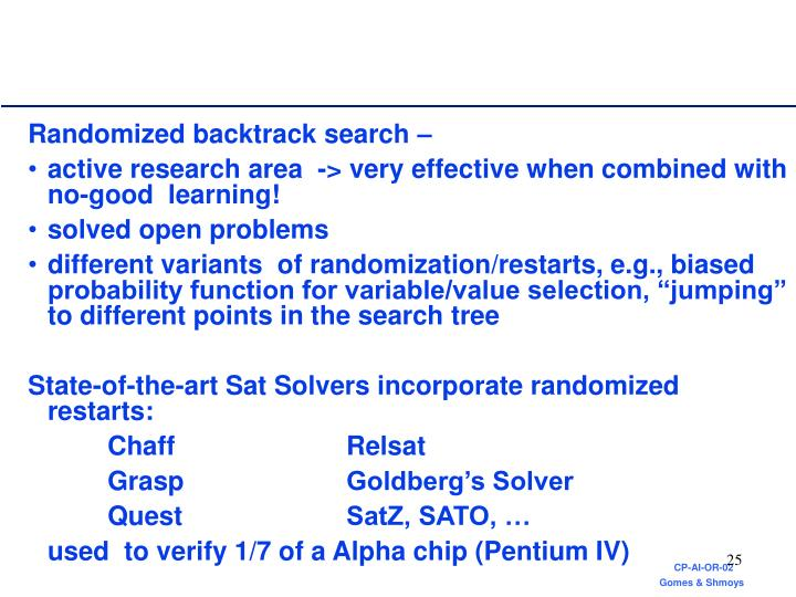Randomized backtrack search –