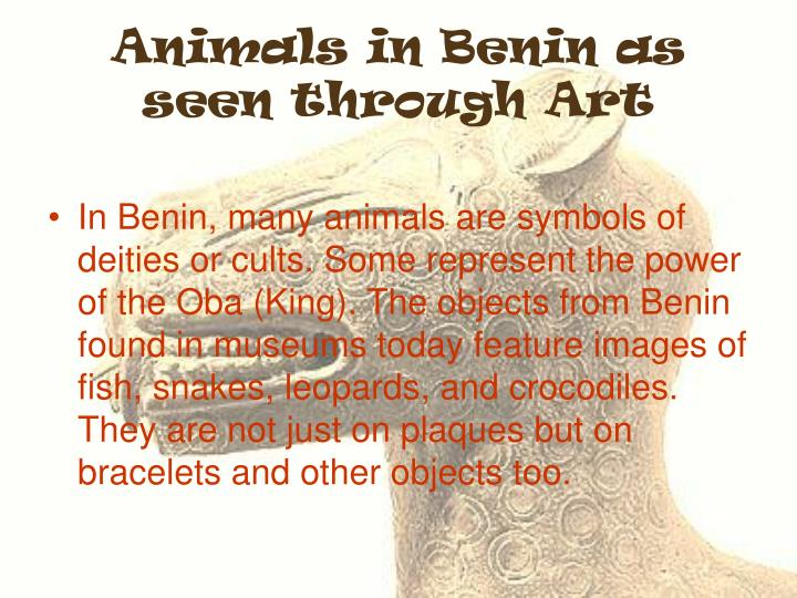 Animals in Benin as seen through Art