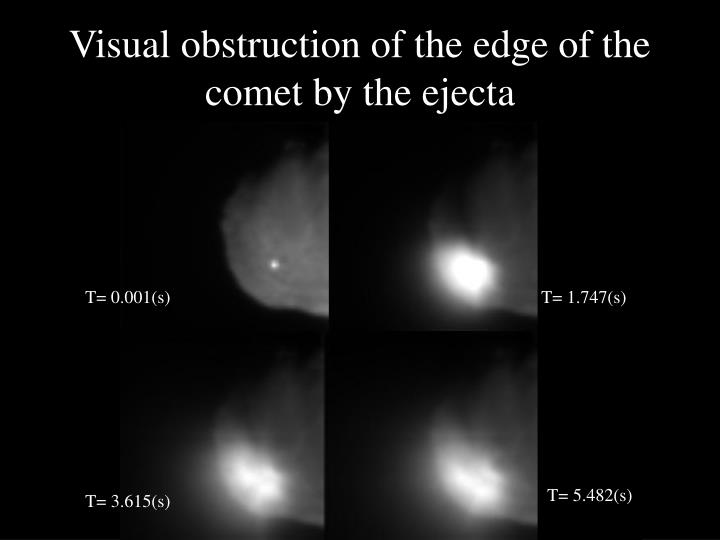 Visual obstruction of the edge of the comet by the ejecta