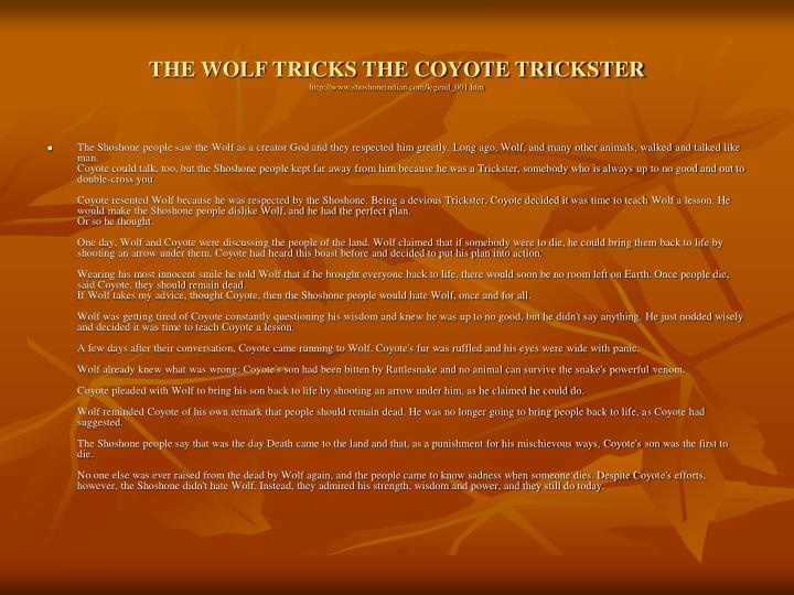THE WOLF TRICKS THE COYOTE TRICKSTER