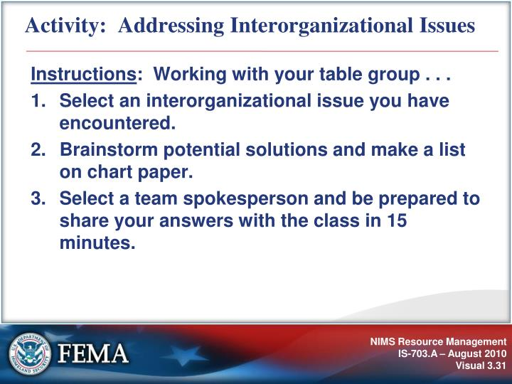 Activity:  Addressing Interorganizational Issues