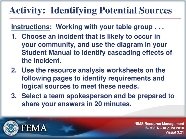 Activity:  Identifying Potential Sources