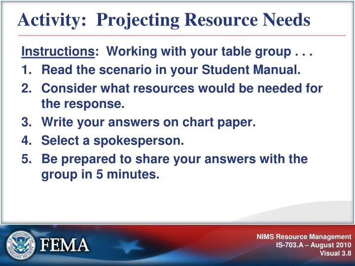 Activity:  Projecting Resource Needs