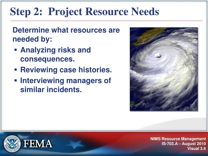 Step 2:  Project Resource Needs