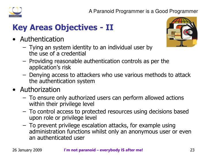 Key Areas Objectives - II