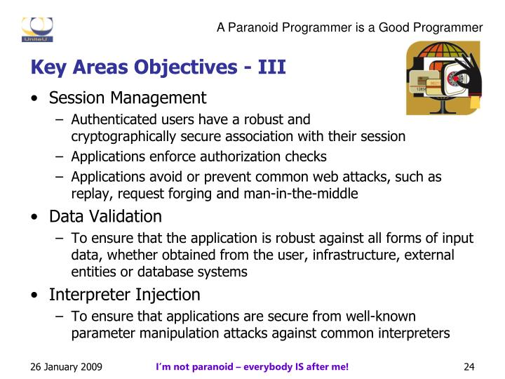 Key Areas Objectives - III